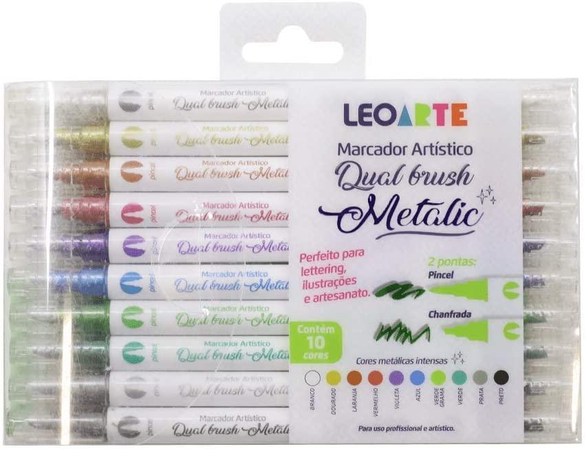 Estojo Caneta Dual Brush Metalic c/ 10 cores - LeoArte