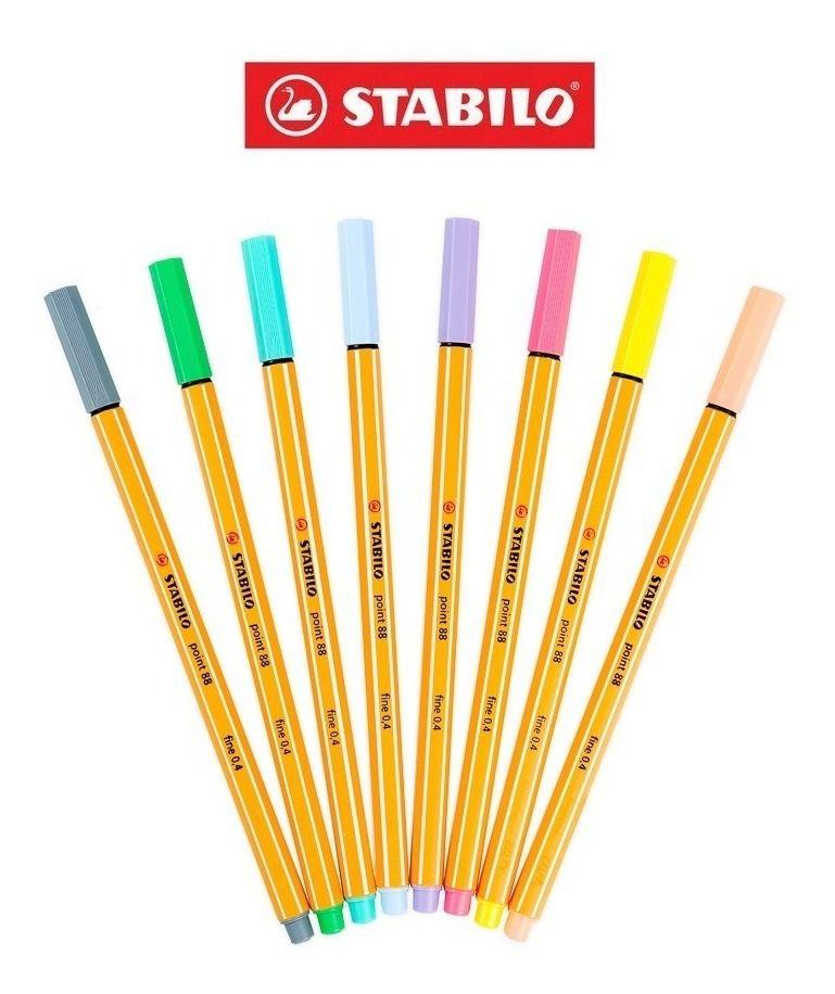 Kit Caneta Stabilo com 8 Cores Pastel 0,4mm
