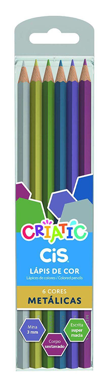 Lápis 6 cores Cis Criatic cores metálicas
