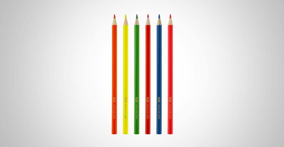Lápis de Cor 6 Cores BRW Neon Color