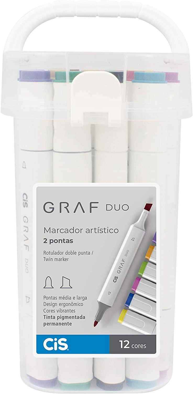 Marcador Artístico 2 Pontas CIS Graf Duo 12 Cores