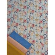 Kit de Tecido Tricoline Rosas Fundo Azul