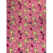 Tecido Tricoline Alice no País das Maravilhas Rosa - 50 x 1,50M