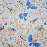 Tecido Tricoline Blue Birds  0,50CM X 1,50CM
