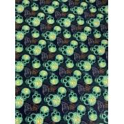 Tecido Tricoline Caveira Neon - 50 x 1,50M
