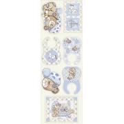 Tecido Tricoline Coleção Bebê Azul Painel - 0,50cm x 1,50M
