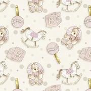 Tecido Tricoline Coleção Bebê Rosa #1 - 0,50cm x 1,50M