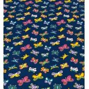 Tecido Tricoline Coleção Coloridinho Borboleta Azul 50cm x 75cm