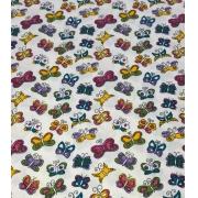 Tecido Tricoline Coleção Coloridinho Borboleta Branco 50cm x 75cm