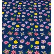 Tecido Tricoline Coleção Coloridinho Flor Azul 50cm x 75cm