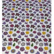 Tecido Tricoline Coleção Coloridinho Flor Branco 50cm x 75cm