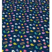 Tecido Tricoline Coleção Coloridinho Passarinho Azul 50cm x 75cm