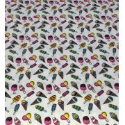 Tecido Tricoline Coleção Coloridinho Sorvete Branco 50cm x 75cm