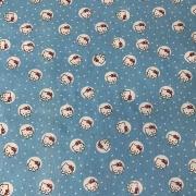 Tecido Tricoline Hello Kitty Azul - 0,50cm X 0,70cm
