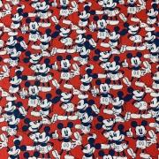 Tecido Tricoline Mickey Fundo Vermelho - 50cm X 75cm