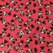 Tecido Tricoline Minnie Fundo Rosa - 0,50cm x 0,70cm
