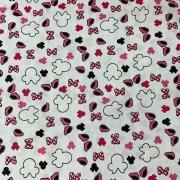 Tecido Tricoline Minnie Recortes Pink -  0,50cm X 0,70cm