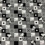 Tecido Tricoline Snoopy Branco e Preto - 0,50cm x 0,70cm