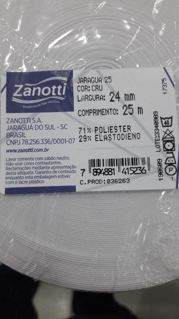 Elastico Zanotti Jaragua 25 - 24mm, Rolo 25 Mts, Cor Branco