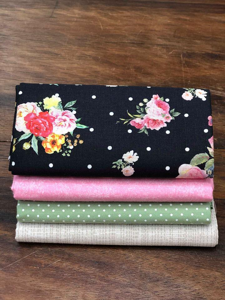 Kit de Tecido Floral Preto