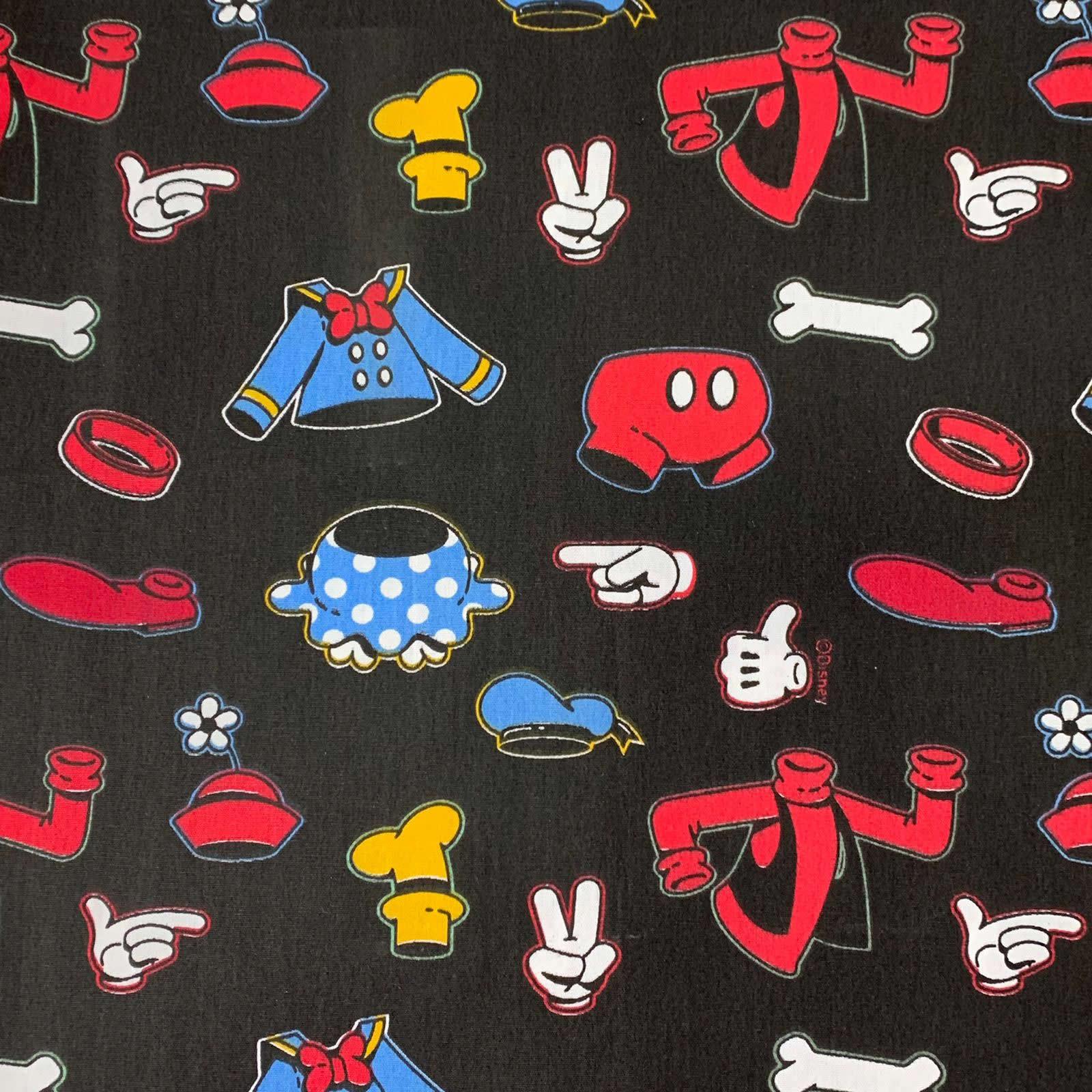 Tecido Tricoline Vestuário Mickey - 0,50cm X 0,70cm