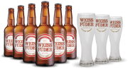 Combo cerveja Weiss Füder 6 garrafas + 3 copos