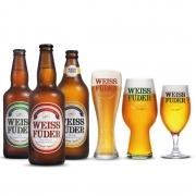 Combo Cerveja artesanal Weiss Füder  3 Garrafas + 3 copos variados