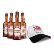 Combo cerveja Weiss Füder 4 garrafas + 1 Boné branco