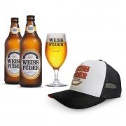 Combo cerveja Weiss Füder Pilsen 2 garrafas + 1 copo + 1 boné