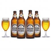Combo cerveja Weiss Füder Pilsen 4 garrafas + 2 copos