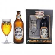 Kit Presente Cerveja Weiss Füder Pilsen Taça e garrafa