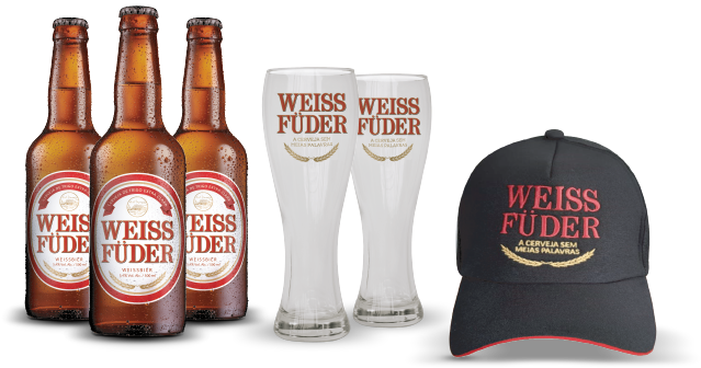 Combo Weiss Füder 3 garrafas + 2 copos + 1 boné preto