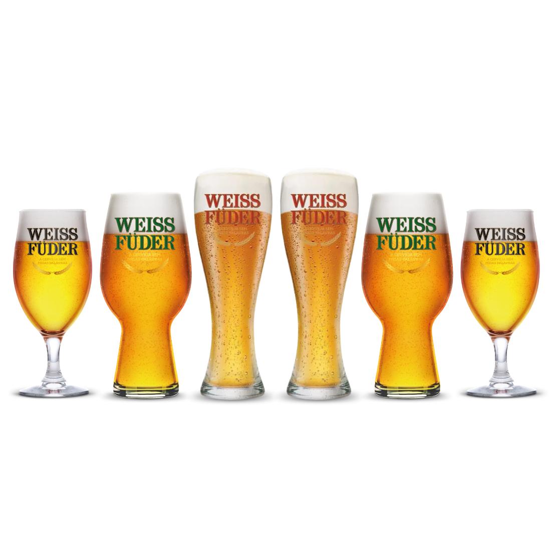 Combo Cerveja artesanal Weiss Füder 6 Copos variados