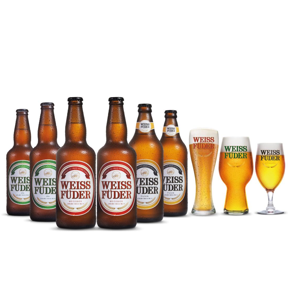 Combo Cerveja artesanal Weiss Füder  6 Garrafas + 3 copos variados