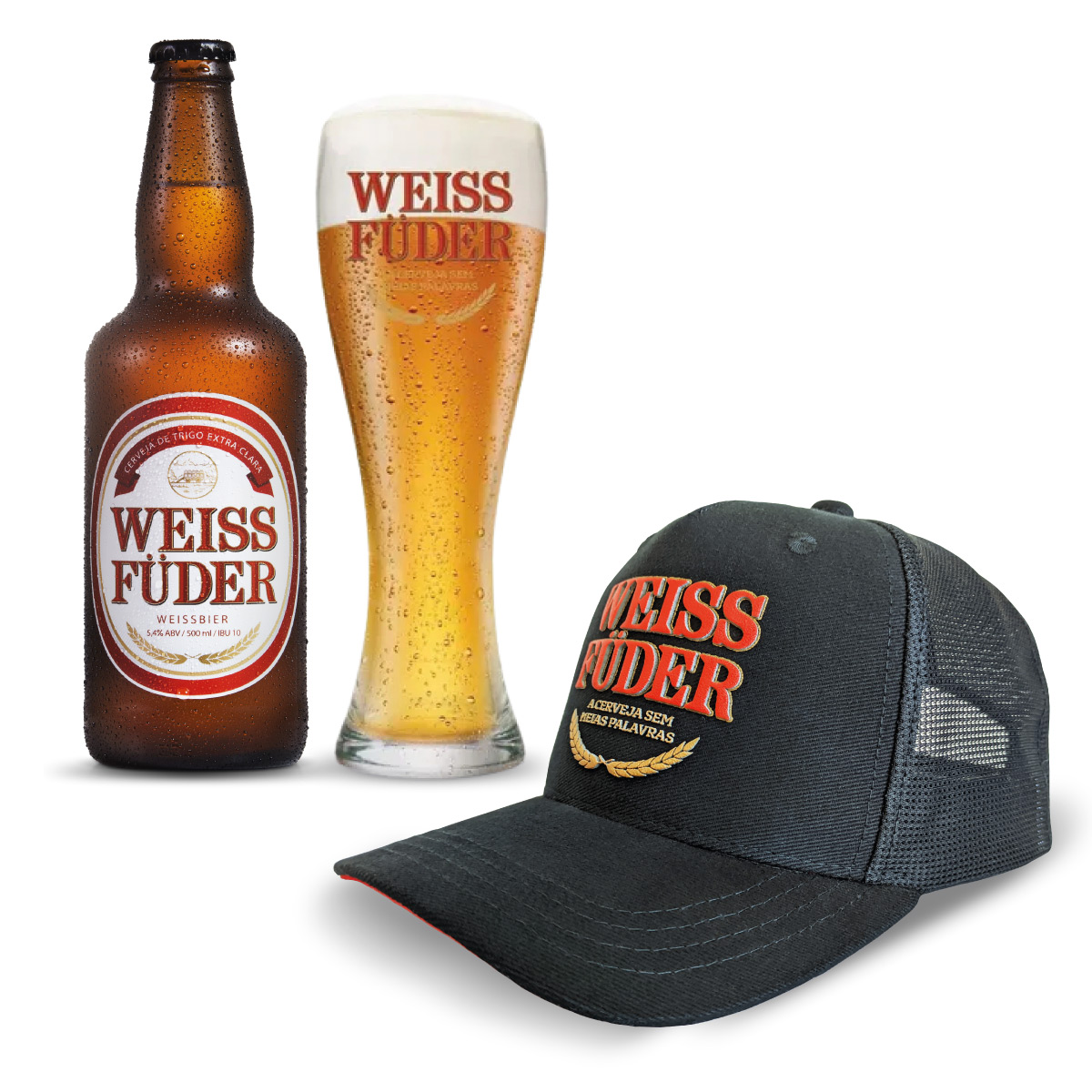 Combo cerveja Weiss Füder 1 garrafa + 1 copo + 1 boné preto