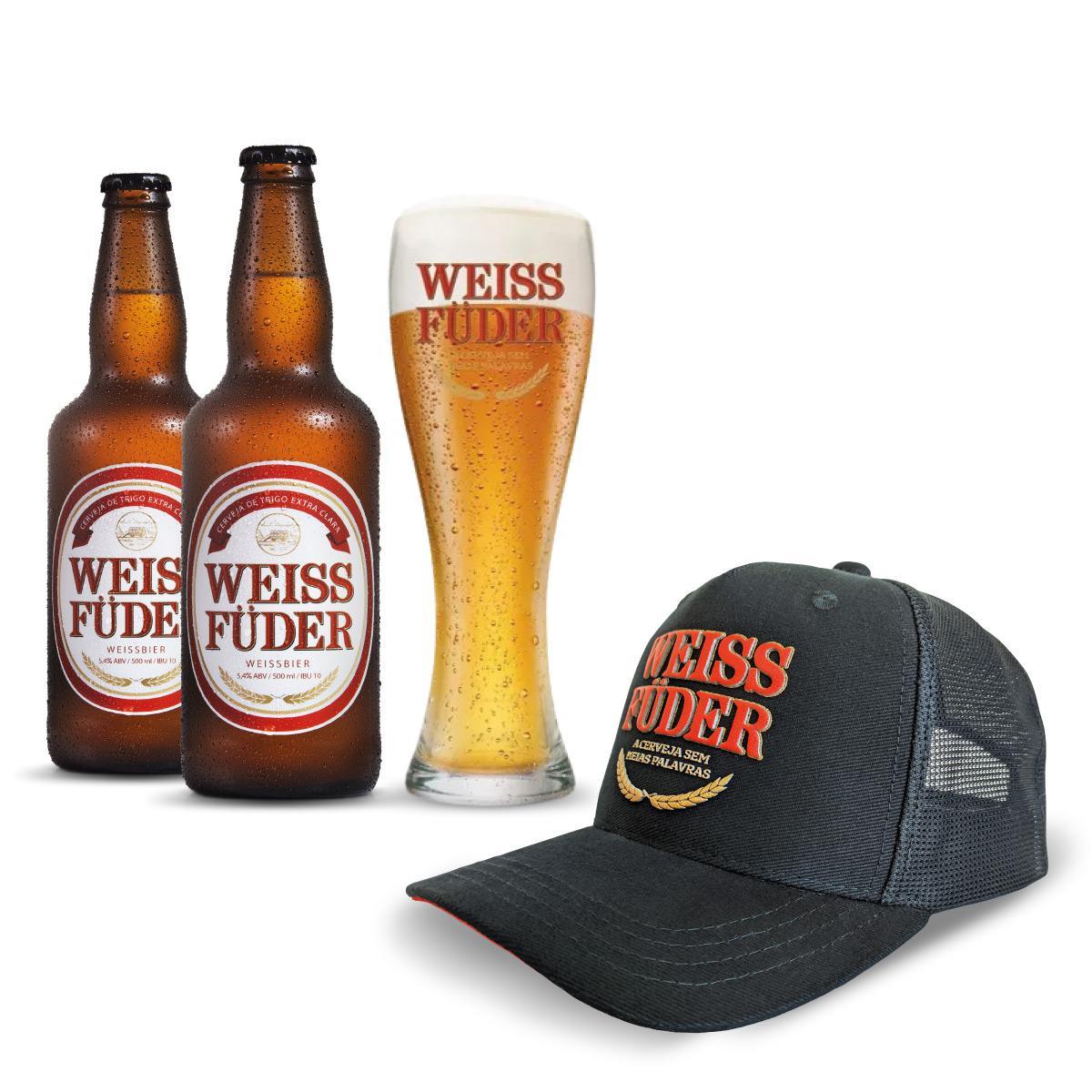 Combo cerveja Weiss Füder 2 garrafas + 1 copo + 1 boné preto