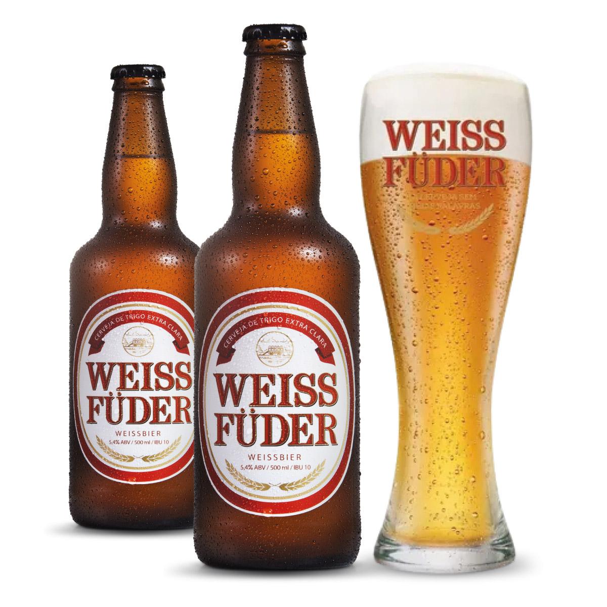 Combo cerveja Weiss Füder 2 garrafas + 1 copo
