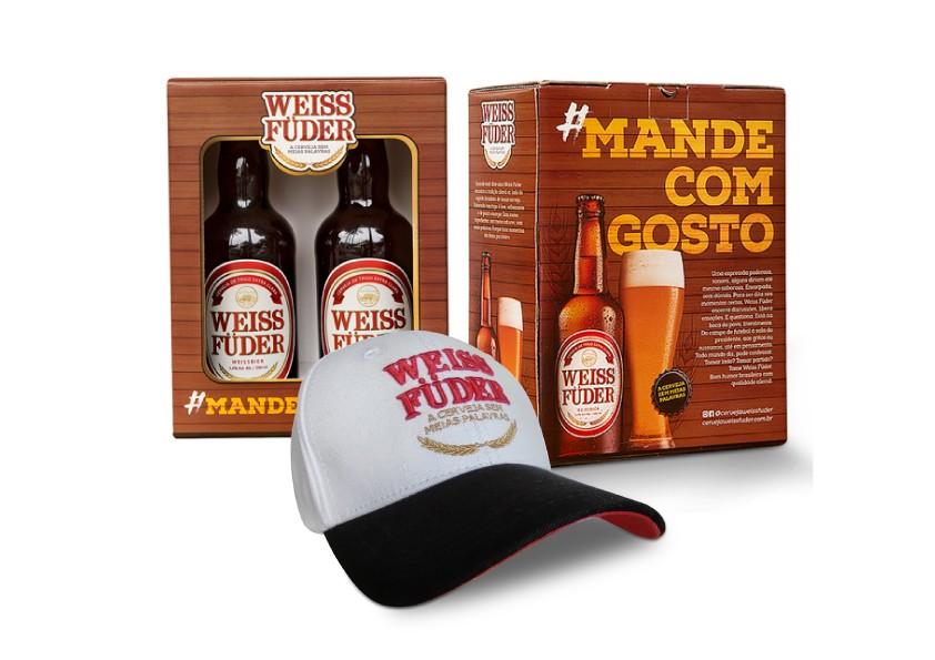 Combo cerveja Weiss Füder kit 2 garrafas + 1 boné branco