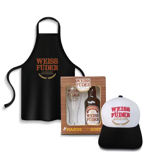 Combo Weiss Füder 1 avental + 1 boné branco + 1 kit cerveja Weiss Füder com garrafa e copo