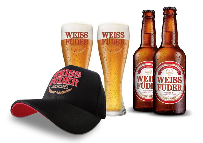 Combo Weiss Füder 2 garrafas + 2 copos + 1 boné preto