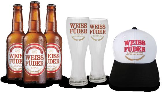 Combo Weiss Füder 3 garrafas + 2 copos + 1 boné branco