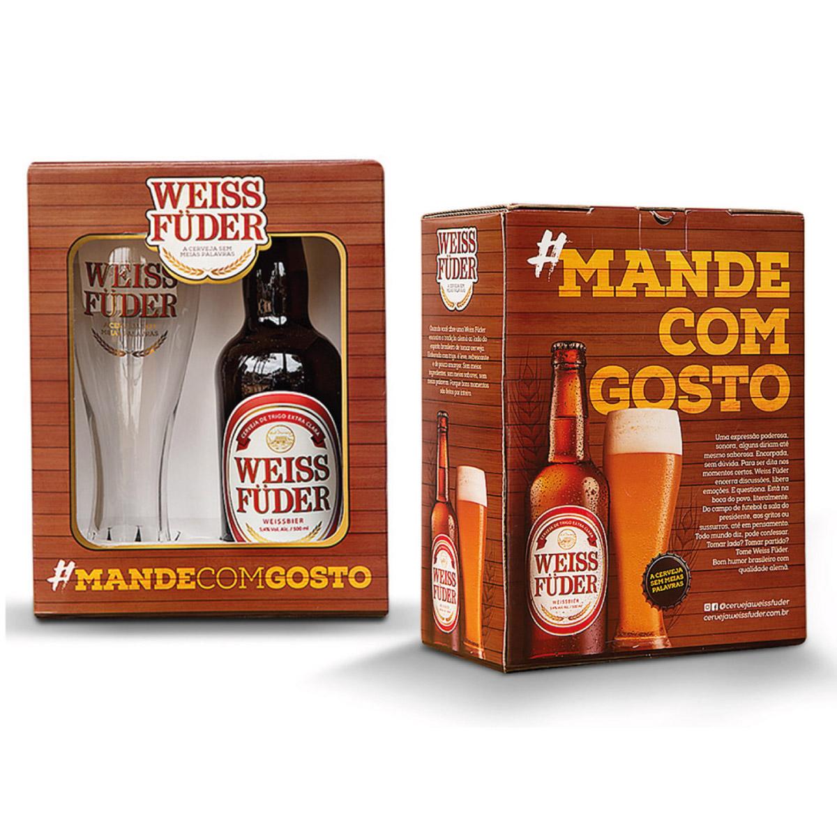 Kit Presente Cerveja Weiss Füder Copo e garrafa
