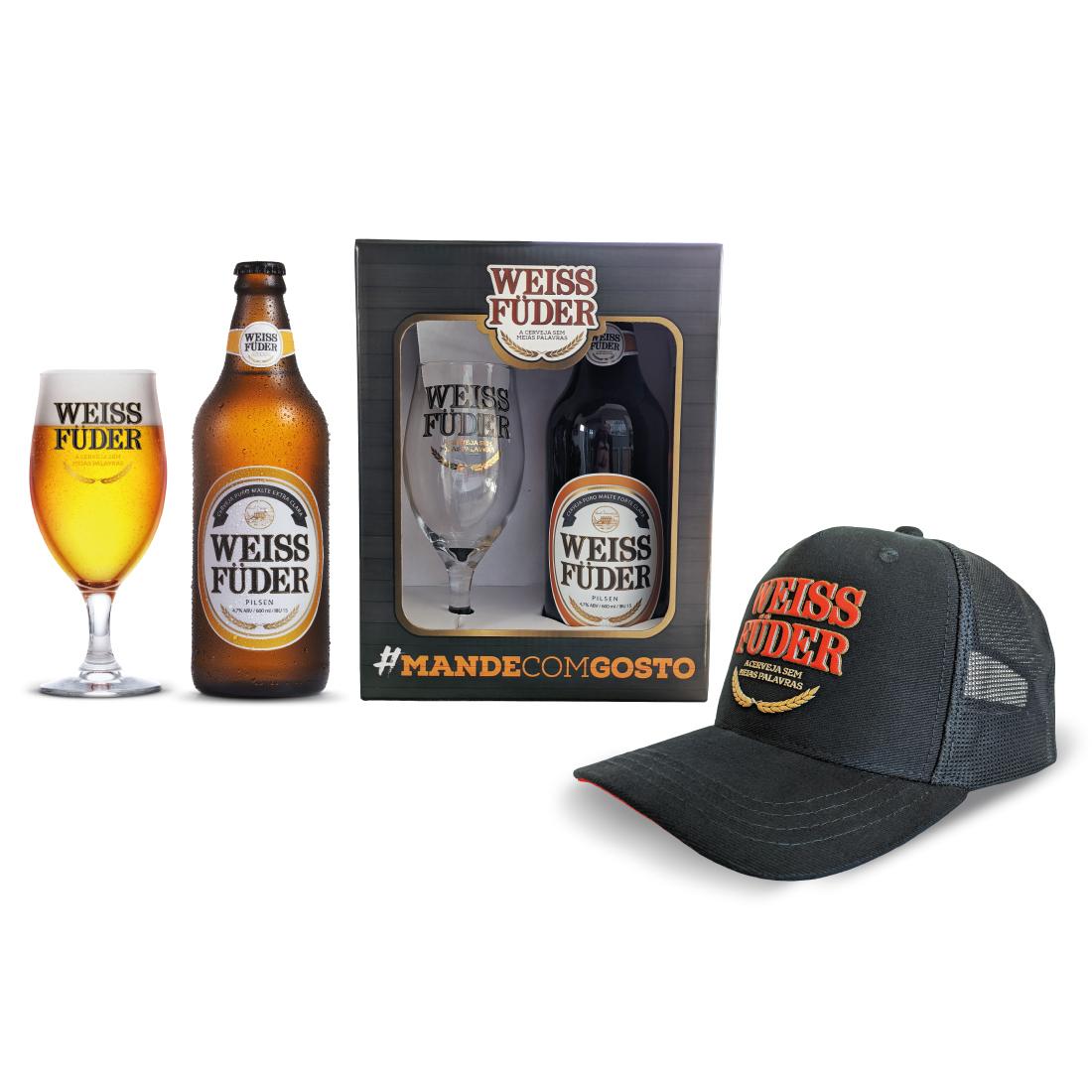Kit Presente Cerveja Weiss Füder Pilsen Copo e garrafa + boné