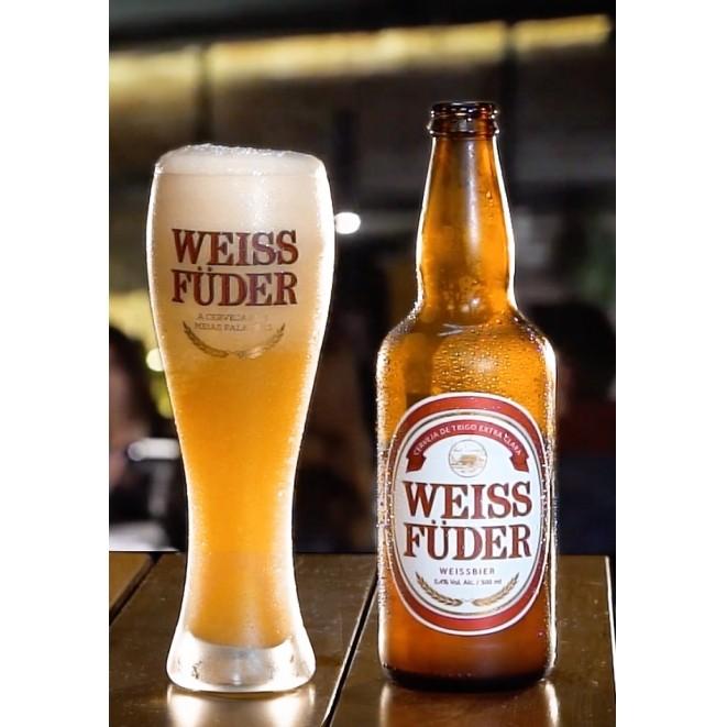 Presente criativo Kit Cerveja Weiss Füder copo e garrafa