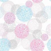 Papel de Parede Para Quarto Poá Branco/Azul/Rosa - Cole Aí