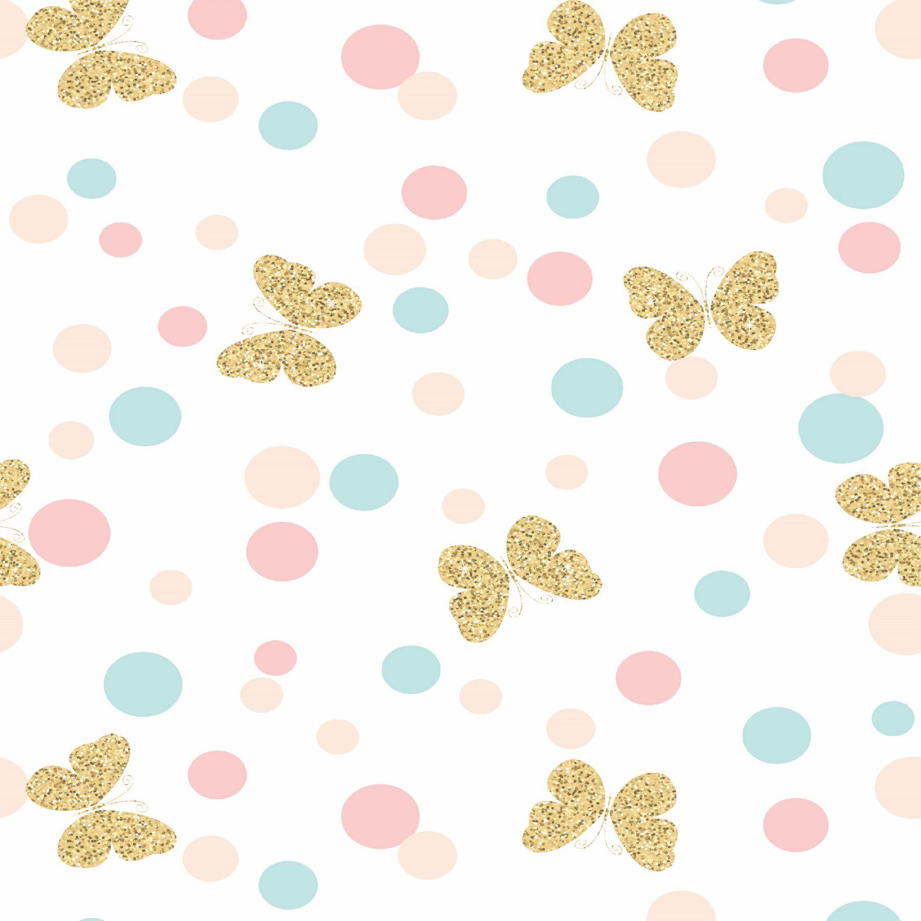 Papel de Parede Adesivo Lavável Infantil Borboletas Dourado - Cole Aí