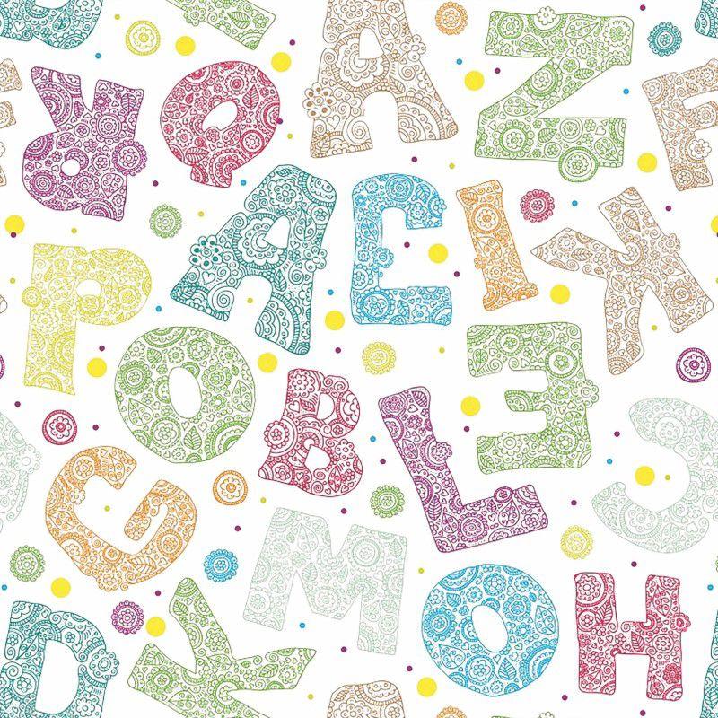 Papel de Parede Adesivo Lavável Infantil Alfabeto - Cole Aí