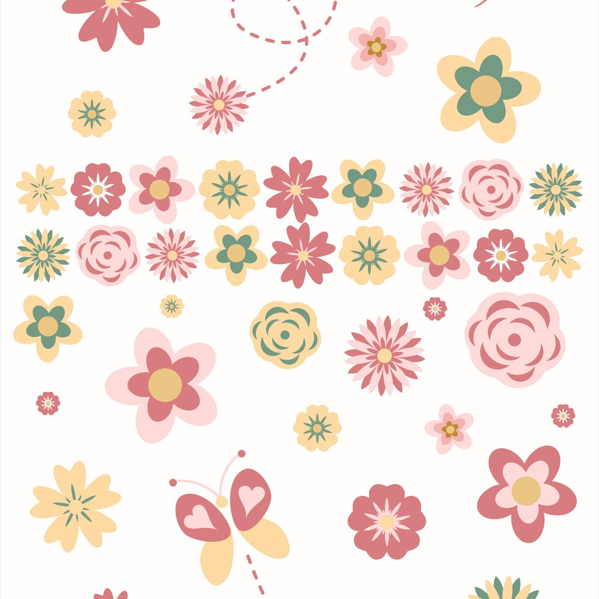 Papel de Parede Adesivo Lavável  Floral CO-207 Cole Aí