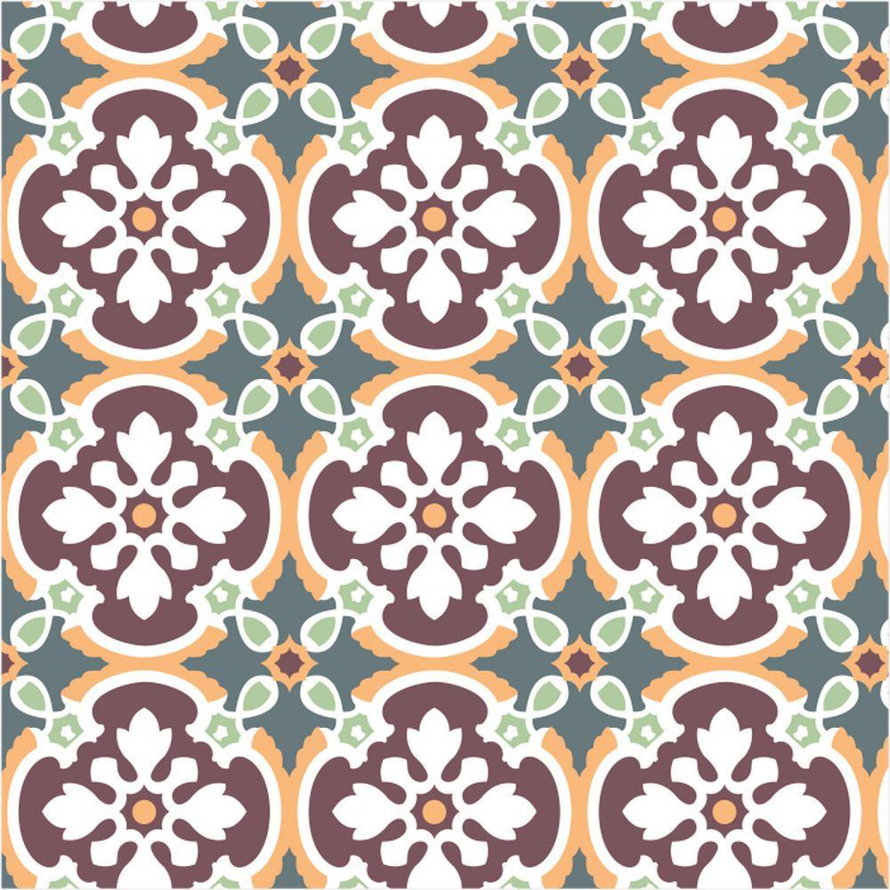 Papel de Parede Para Cozinha Azulejo Flor Verde/Marsala - Cole Aí