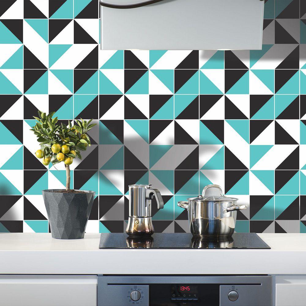 Papel De Parede Para Cozinha Geometrico Preto Branco Azul Cole